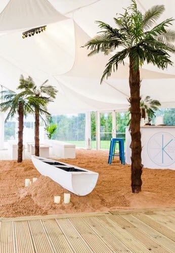Party Marquee Hire - Tropical Theme with Boat and Palm Trees