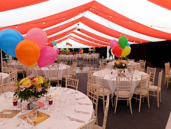 Party Marquee Hire - Striped Marquee with Baloons